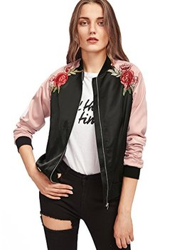 Floerns Women's Casual Short Embroidered Floral Bomber Jacket by Floerns