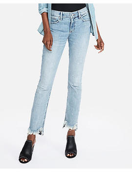 Mid Rise Original Frayed Hem Super Skinny Jeans by Express