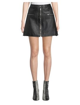 Leather Biker Mini Skirt by 7 For All Mankind
