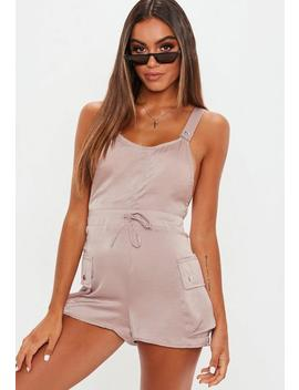 Rose Pink Satin Utility Pinafore Playsuit by Missguided