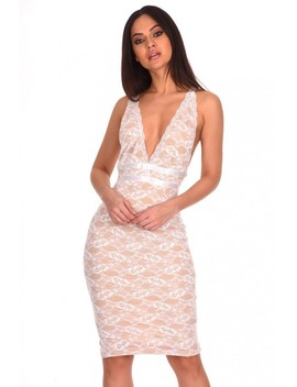 Cream Lace V Neckline Bodycon Dress by Ax Paris