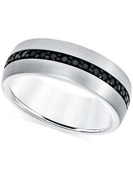 Black Sapphire Band (7/8 Ct. T.W.) In White Tungsten Carbide by Macy's