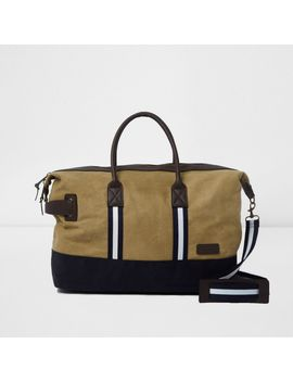 Khaki Canvas Holdall Bag by River Island
