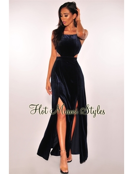 Navy Blue Velvet Open Back Double Slit Maxi Dress by Hot Miami Style
