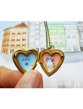 Custom Pet Portrait Jewelry  Pet Memorial Necklace   Heart Locket Pendant   Pet + Name   Pet Lovers Gift by Biribis