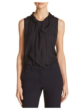 Tie Neck Striped Silk Top by Theory