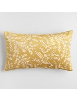 Oversized Mustard Fern Yellowstone Lumbar Pillow by World Market