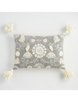 Embroidered Pear Tree Lumbar Pillow With Tassels by World Market