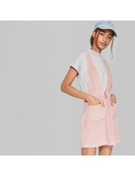 Women's Sleeveless V Neck Zip Front Corduroy Mini Dress   Wild Fable™ Pink by Shop All Wild Fable™