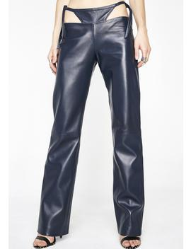 T Detail Leather Pants by Maria Ke Fisherman
