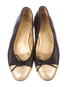Chanel Cc Metallic Ballet Flats by Chanel