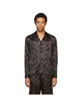 Black Pixel Pattern Pyjama Shirt by Bottega Veneta