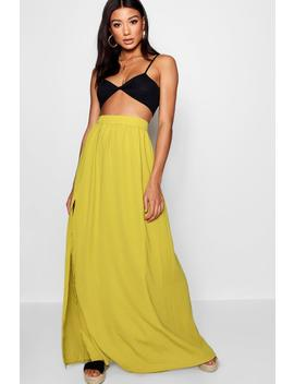 Woven Floor Sweeping Maxi Skirt by Boohoo