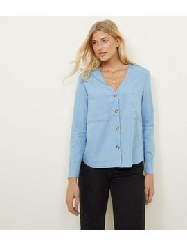 Pale Blue Chambray Double Pocket Front Shirt by New Look