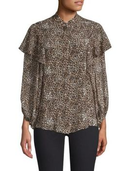 Chloe Ruffled Leopard Blouse by Saloni