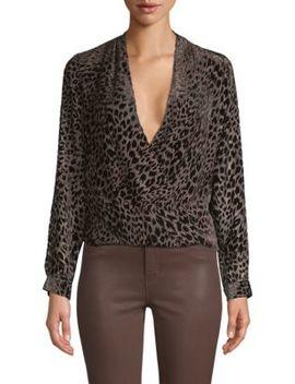 Lydia Leopard Velvet Burnout Blouse by L'agence