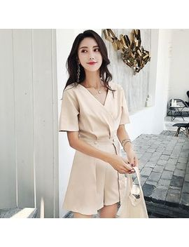 Plain Short Sleeve Playsuit by Tabla
