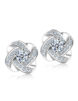Jemmin Crystal Earrings 925 Sterling Silver Knot Flower Stud Earrings For Women Brincos Bijoux Wedding Jewelry by Jemmin