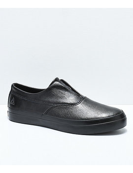Huf Dylan Slip On Black Full Grain Leather Skate Shoes by Huf