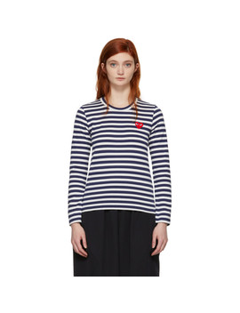 Navy & White Long Sleeve Striped Heart T Shirt by Comme Des GarÇons Play