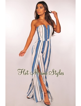 Blue White Striped Strapless Slit Palazzo Jumpsuit by Hot Miami Style
