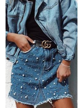Pearls Raw Hem Denim Skirt by Lupsona