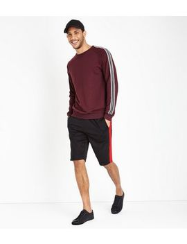 Black Side Stripe Tricot Shorts by New Look
