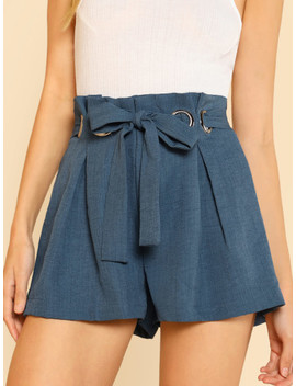 O Ring Detail Self Belted Shorts by Shein