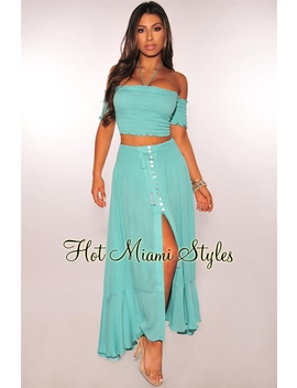 Turquoise Smocked Off Shoulder Maxi Two Piece Set by Hot Miami Style