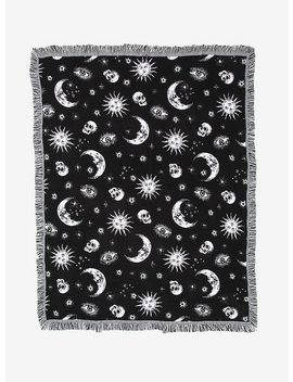 Black &Amp; White Celestial Woven Tapestry Throw Blanket by Hot Topic