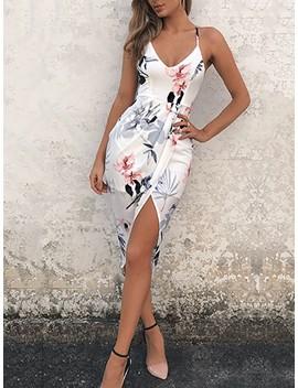 Stylish V Neck Strappy Floral Wrapped Dress by Ivrose