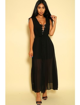 Sexy Black Sleeveless Maxi Summer Dress by Ami Clubwear