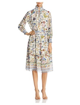 Waverly Smocked Midi Dress by Tory Burch