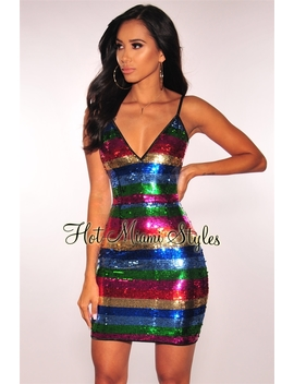 Rainbow Sequins Spaghetti Straps Dress by Hot Miami Style