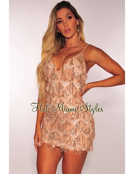 Rose Gold Flowing Sequins Dress by Hot Miami Style