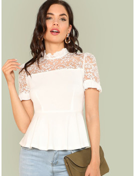 Embroidery Mesh Insert Ruffle Trim Blouse by Shein