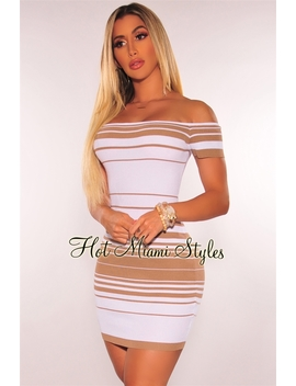 Mocha White Striped Ribbed Knit Off Shoulder Dress by Hot Miami Style