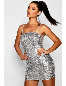 Sequin Square Neck Bodycon Dress by Boohoo