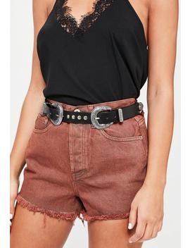 Black Double Buckle Western Belt by Missguided