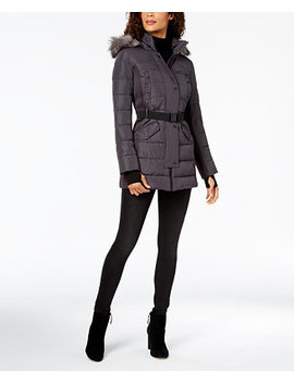 Mixed Media Hooded Puffer Coat by Michael Michael Kors