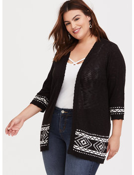 Black Border Slub Cardigan by Torrid