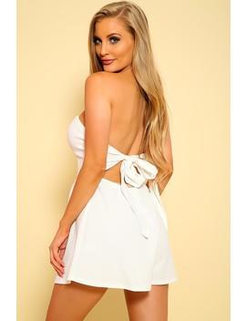 Sexy White Strapless A Line Dressy Romper by Ami Clubwear