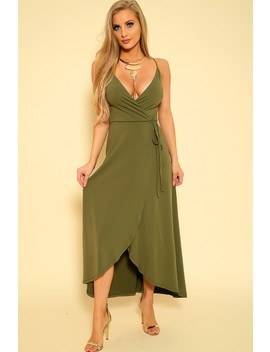 Sexy Olive Cross Over Sleeveless Wrap Tie Maxi Dress by Ami Clubwear