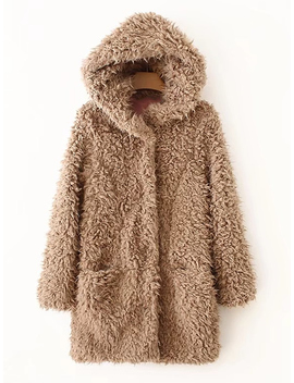 Faux Fur Hooded Coat by Romwe