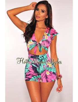 Hot Pink Palm Print Tie Up Cut Out Romper by Hot Miami Style