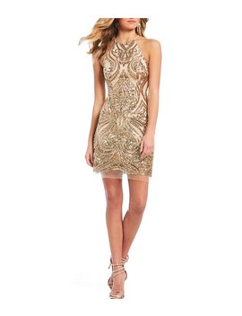 Halter Neck Sequin Pattern Sheath Dress by Generic