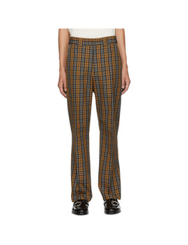 Beige & Blue Check Ric Trousers by Hope