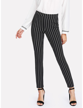 Vertical Striped Skinny Pants by Romwe