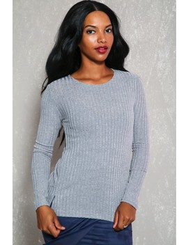 Sexy Grey Ribbed Lace Up Back Long Sleeve Sweater Top by Ami Clubwear