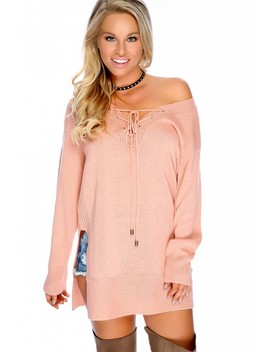Sexy Dusty Pink Front Lace Up Long Sleeve Shoulder Knit Casual Sweater Top by Ami Clubwear